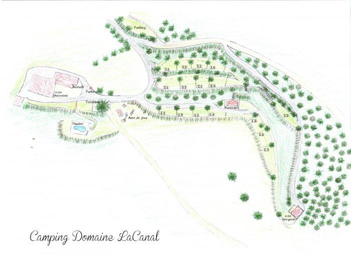 Plattegrond camping Domaine Lacanal
