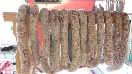 fresh sausages, raw hams lacaune